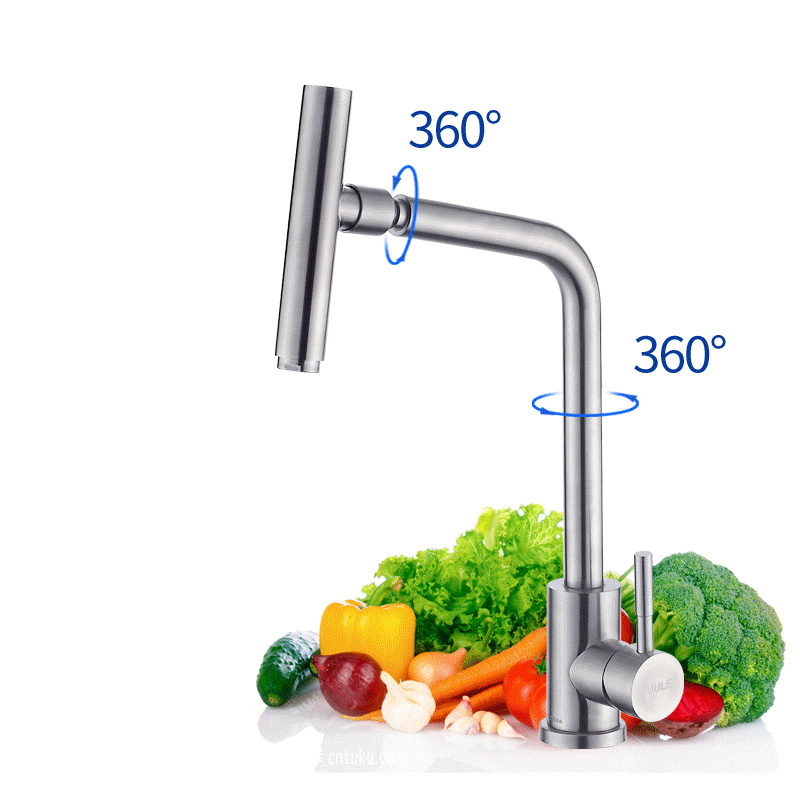 High quality 304 stainless steel kitchen sink hot and cold rotary faucetsHigh quality 304 stainless steel kitchen sink hot and cold rotary faucets