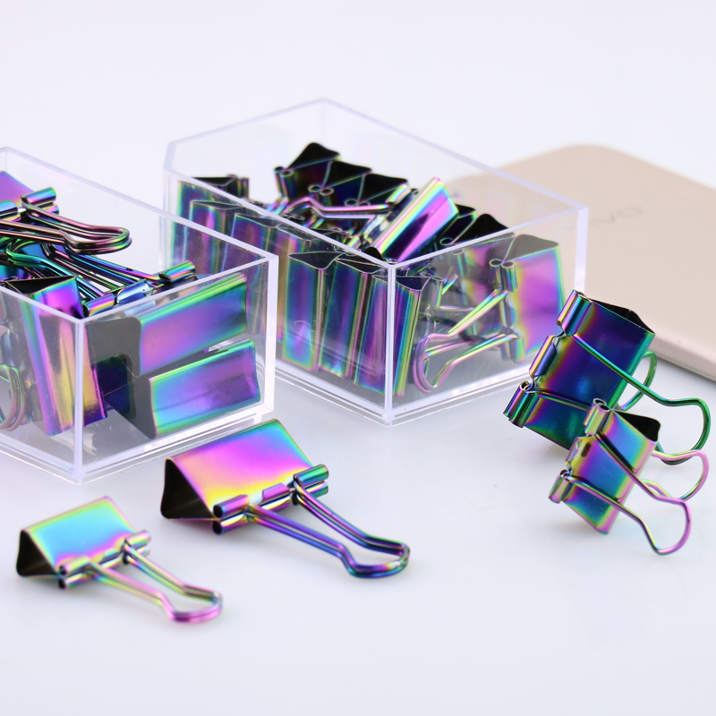 TUTU 15/8 Pcs Rainbow Color Metal Binder Clips Coloful Binder Notes Letter Paper Clip Office Supplies H0152