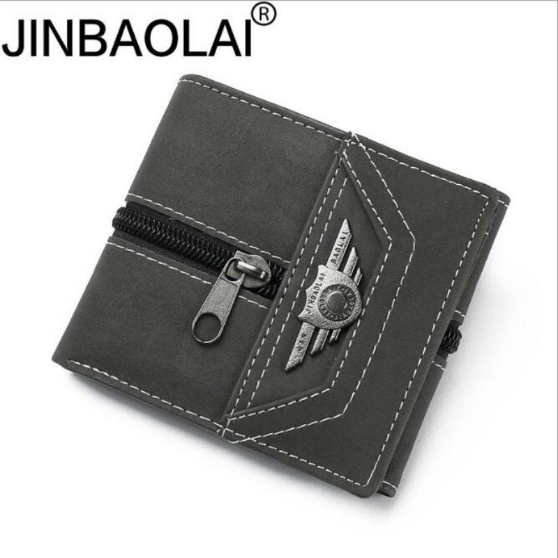 2019 New Arrival Men's Vintage Faux Leather ID Credit Card Holder Canvas Wallet Punk Zipper Purse