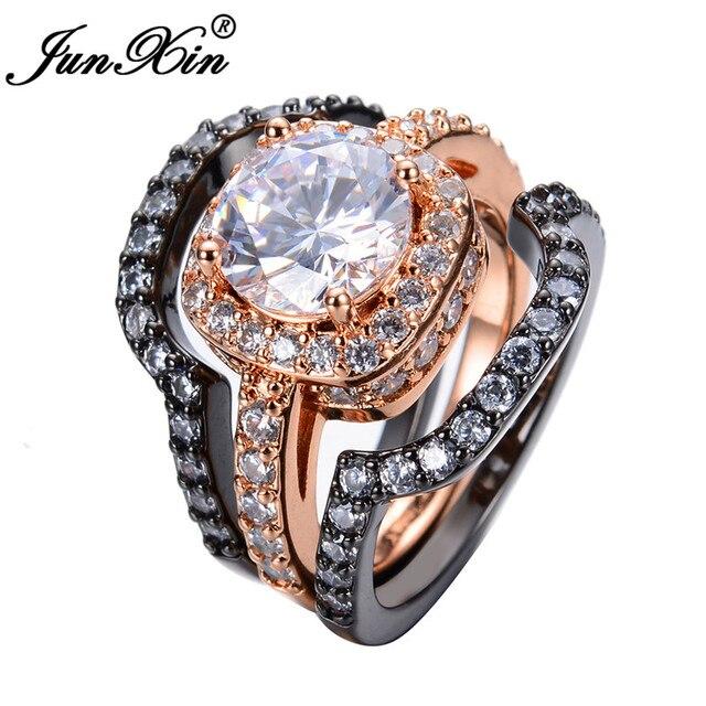 Junxin 3pcs White Zircon Ring Sets Black Rose Gold Filled