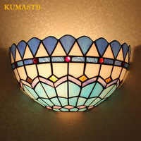 Stained Glass Wall Light Luminaire Blue Wall Sconce Creative Bedside Wall Lamps Aisle Corridor Stairs Bar Wall Lights