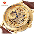 OUYAWEI Men Wristwatches Skeleton Male Clock Leather Strap Steampunk  GOLD Casual Watches Automatic Mechanical Watch