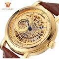 Ouyawei hombres steampunk oro skeleton hombres reloj de pulsera correa de cuero ocasional mira el reloj mecánico automático