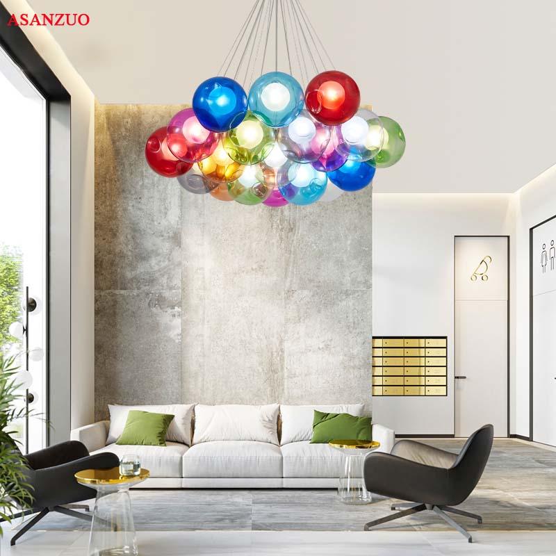 Acheter Creative Design Moderne LED Coloré Boule De Verre Pendentif ...
