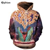 Qybian 3D Crocodile pizza Prints Hooides Men's warm Clothes Winter Sweatshirts Men Hip Hop Streetwear vitality Hoody young Man