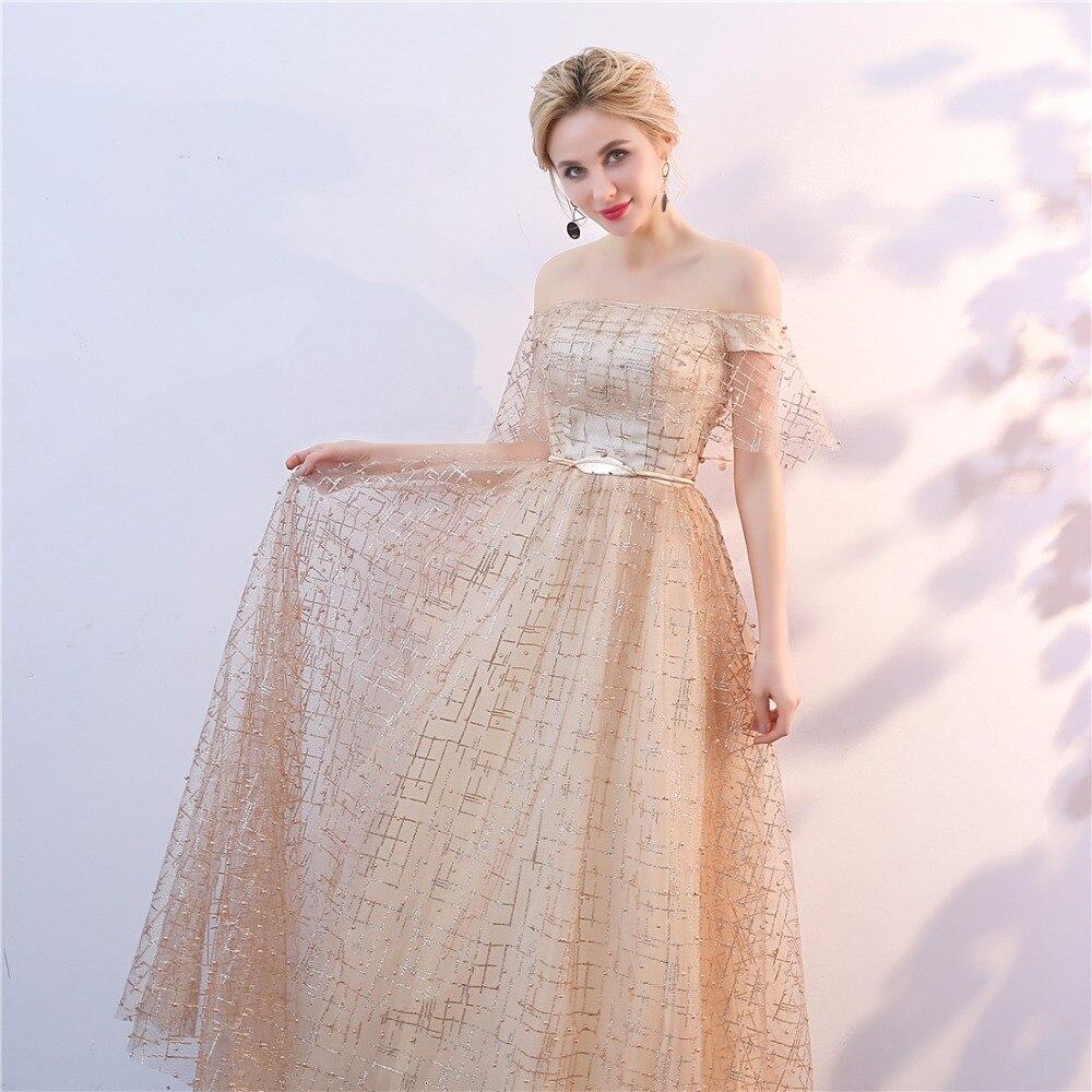 Golden Evening Dresses 2018 Nya Plus Size Tulle Ansökningar Långa - Särskilda tillfällen klänningar - Foto 5
