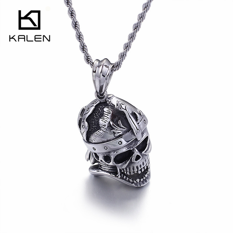 Useful Viking Skull Cross Mens Necklace Vintage Black Skull Punk Long Chain Pendants Necklaces For Women New Occident Brand Jewelry Pendant Necklaces