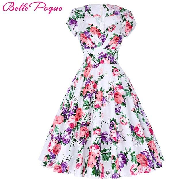 acc389324c1 Belle Poque Women Dress 2018 Retro Vintage 50s 60s Print Swing Dress Elegant  Casual Tunic robe Rockabilly Floral Summer Dresses