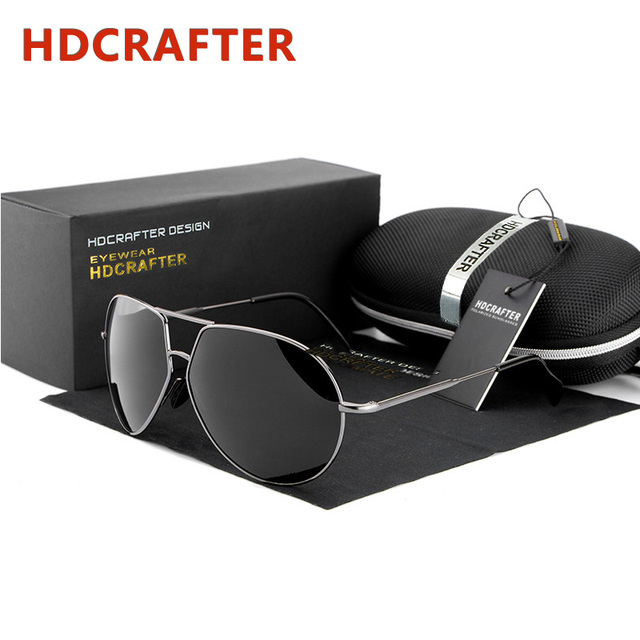 2016 Mens Retro Oversized Sunglasses Men Polarized Aviator Sunglass Man Driver UV Protection Mirror Sun Glasses with Case Oculos