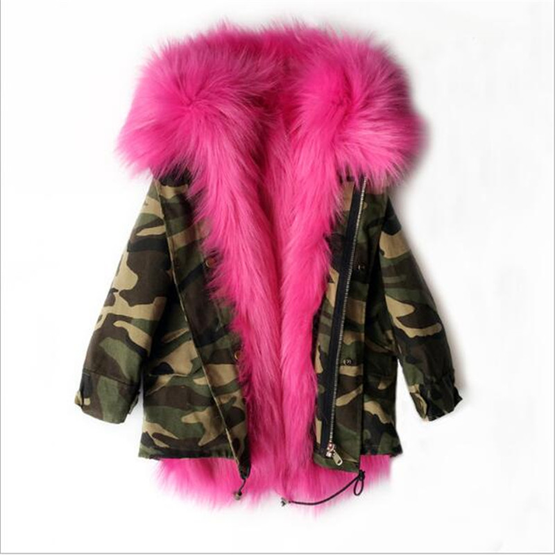 2017 Boys Girls Winter Warm Faux Fox Fur Liner Detachable Coat Kids School Jacket Fashion Thick Snow Wear Winter Jackets Coats 5 colors 2017 new long fur coat parka winter jacket women corduroy big real raccoon fur collar warm natural fox fur liner