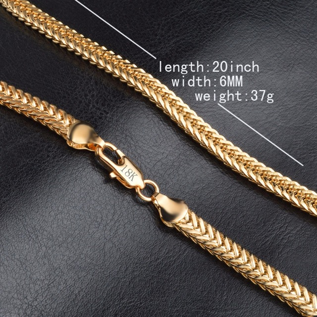 18K Gold Plated Vintage Men's Chain Necklace 5