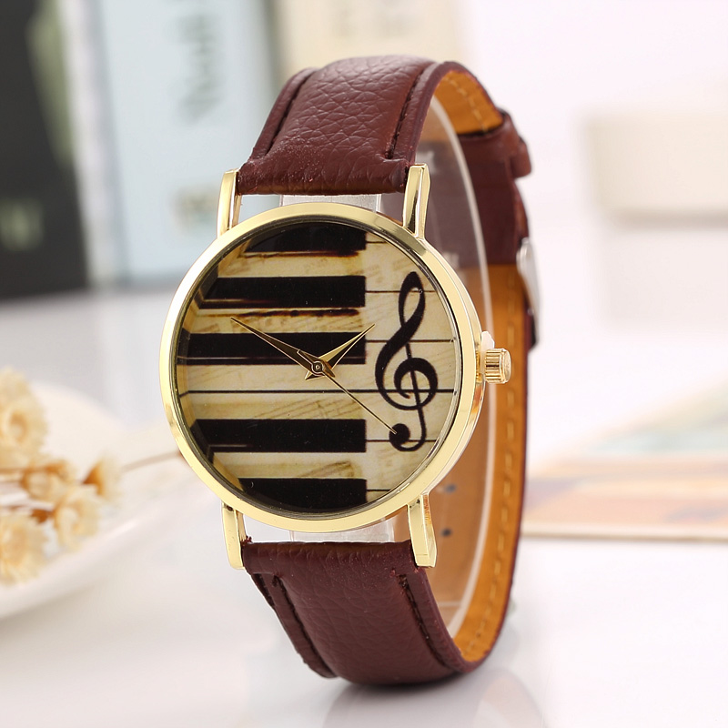 Fashion Women Watch Luxury Brand Musical Note Quartz Wrist Watches Casual Men Watch Leather Ladies Dress Clock Relogio Feminino 2017 luxury brand fashion personality quartz waterproof silicone band for men and women wrist watch hot clock relogio feminino