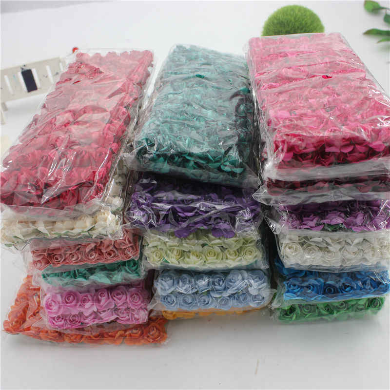144 pcs / lot 1.8 cm Mini Paper Rose Flower Bouquet Wedding Decoration Flower For DIY Scrapbooking Paper Flowers  Paper Flowers