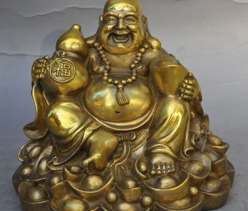 chinese buddhism bronze wealth Gourd yuanbao happy laugh Maitreya Buddha statuechinese buddhism bronze wealth Gourd yuanbao happy laugh Maitreya Buddha statue