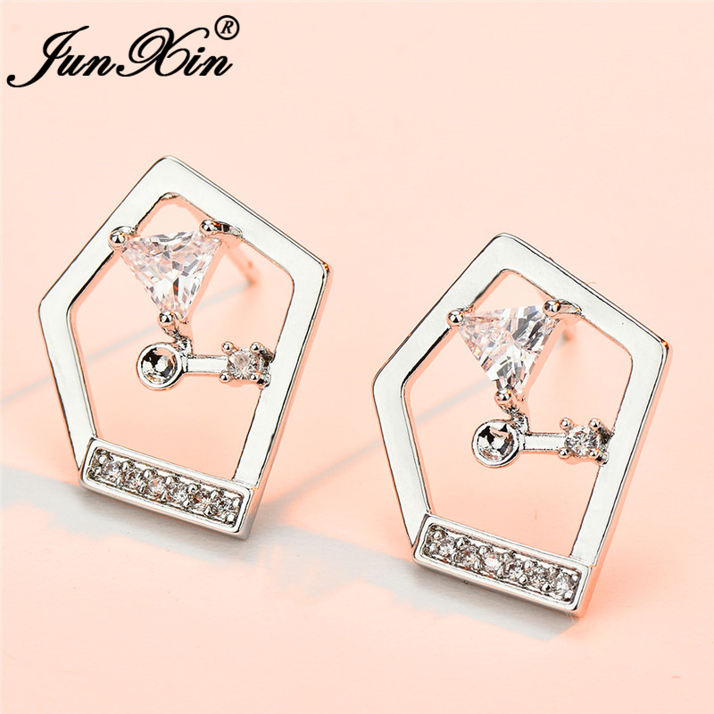 JUNXIN Geometry Triangle Stud Earrings For Women Silver Color White Crystal Earrings Female Daily Piercing Jewelry