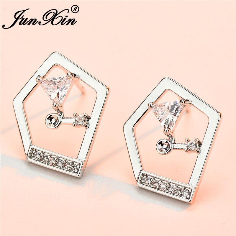 JUNXIN Geometry Triangle Stud Earrings For Women Silver Color White Crystal Earrings Female Daily Piercing Jewelry
