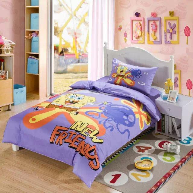 Online Shop Light Purple Spongebob Comforter Bedding Sets Single Twin Size  Bed Duvet Covers Bedspread Cotton Childrenu0027s Bedroom Decor 3 5pcs |  Aliexpress ...