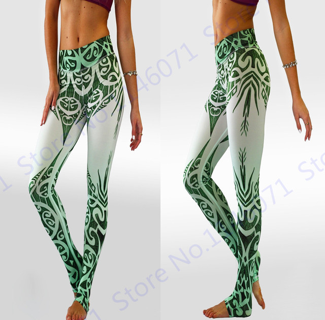 d998be1e3d9 Women s Sexy Push Up Yoga Skinny Tights Stretchy Green Willow Leaves  Fitness Sports Pants White Slim High Waist Running Leggings