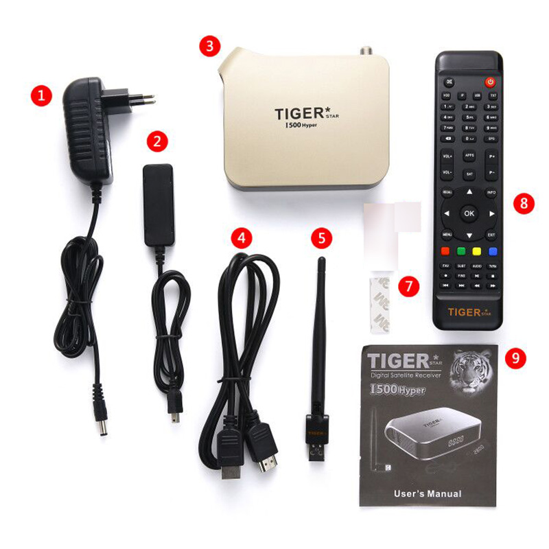 Tigre i500hiper receptor satelital soporte árabe IPTV suscripción 4K pantalla HD receptor de TV Digital por satélite DVBS2 sintonizador FTA - 5