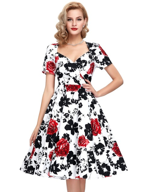 53018ec1ef435 US $54.38 |Belle Poque Vestidos Pin Up Rockabilly Dress Casual Women Summer  Dresses 50s Swing Print Cotton Retro Robe Vintage Dress Sleeves-in Dresses  ...