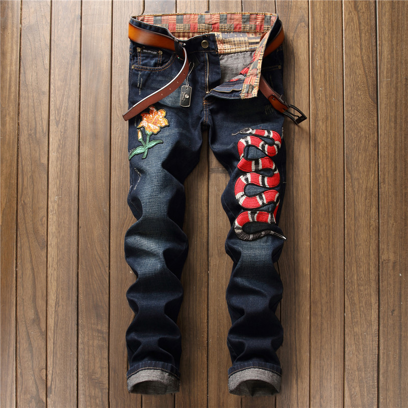 Runway 2017 Mens Jeans Men's Embroidery Trousers Biker Distressed Jean Casual Skinny Motorcycle Hip Hop Denim Ripped Men Pant ripped distressed jean hombre slim fit denim overalls fashion mens biker casual hip hop long trousers calca jeans masculina