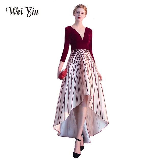 2d2366d3610 WEIYIN De Luxe Velours Longue Robe De Soirée Vin Rouge Double V Cou Pas  Cher Robes