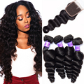 Peruvian Virgin Hair Loose Wave with Closure 5PCS 7A Grade Peruvian Loose Wave Human Hair Extensions Loose Curly Lace Closure