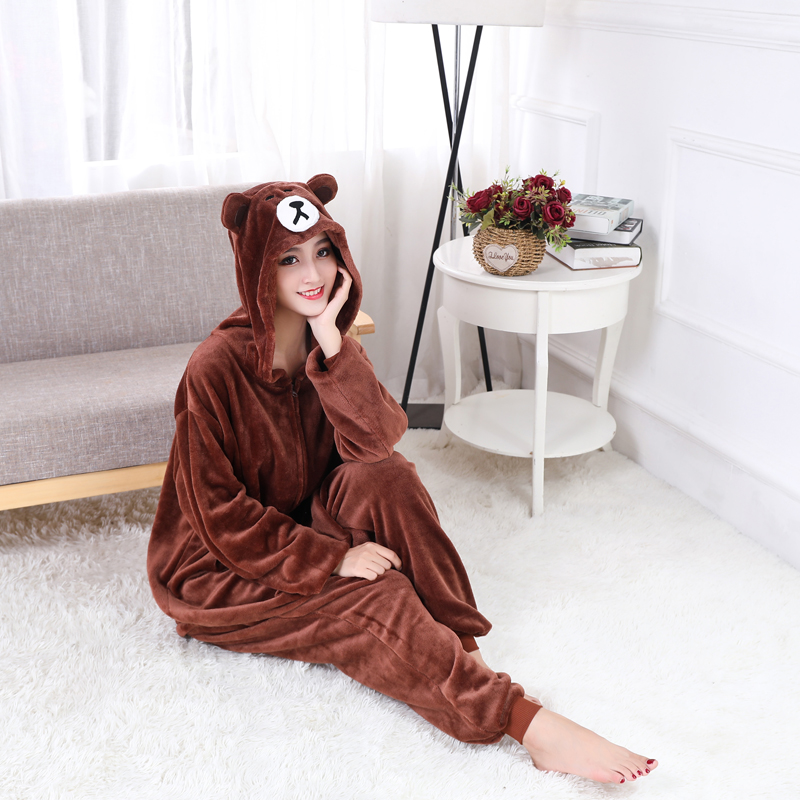 Adorable Brown Bear Kigurumi Onesie For Adults One-Piece Warm Flannel Animal Zipper Pajamas For Halloween Cosplay Party Costume (8)