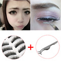 10pair Makeup Party False Eyelashes Eye Lashes + Auxiliary Clip Tweezers Stainless Tools
