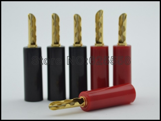 4x Viborg 24k Gold plated Pure Copper Speaker Cable Banana Connector Plug