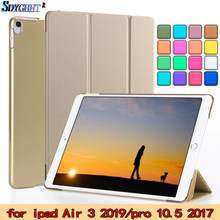Para iPad Air, iPad Pro 10,5 caso 2017/iPad 3 Caso 2019 funda de cuero PU PC transparente dura trasera inteligente para iPad Pro 10,5 A1701(China)