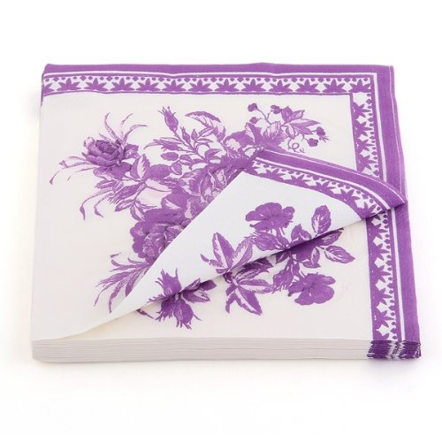 2x Paper Napkin Square Printed Serviettes Party Wedding Tableware Decor Purple