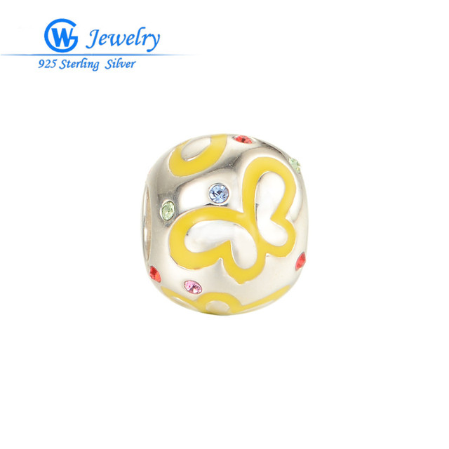 Real 925 sterling silver Butterfly Ball charm Enamel & crystal beads fits charms braceletsGW Fine Jewelry D114H20