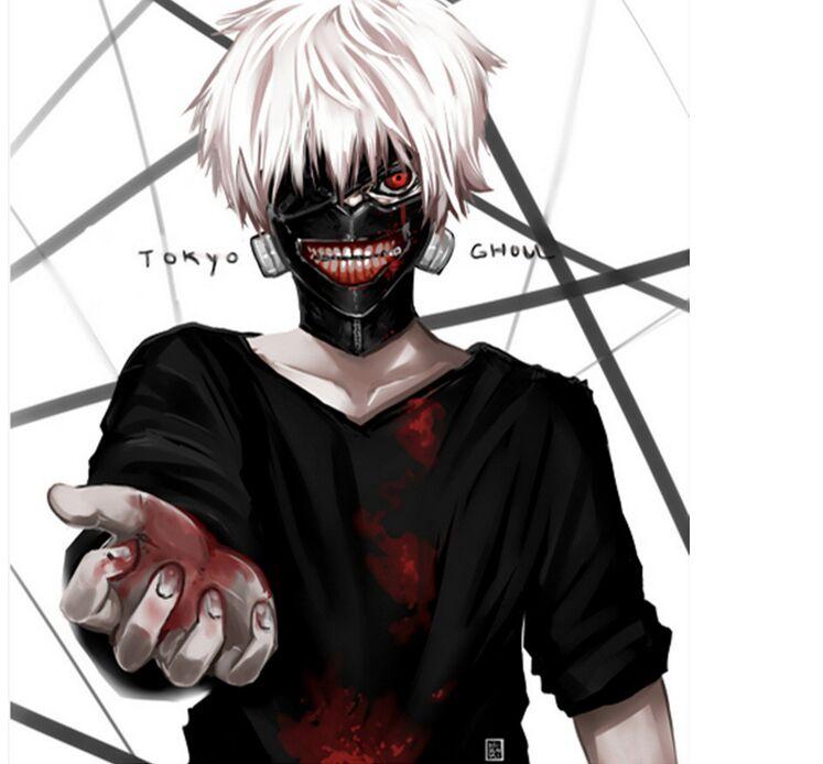 2018 neue Heiße Verkauf Cosplay Mascaras de Anime Einstellbare Halloween Masken PU Leder Japanischen Blinder Kaneki Ken Tokyo Ghoul Maske