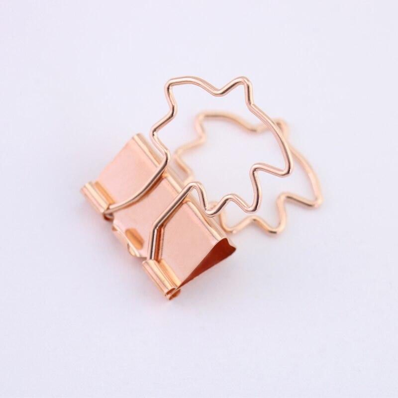 10pcs Gold Rose Gold Binder Clip Hollow Out Heart Shape Metal Binder Clips 2019