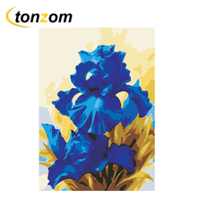 RIHE Blue Flower Diy Painting By Numbers Oil On Canvas Hand Painted Cuadros Decoracion Acrylic Paint Home Art
