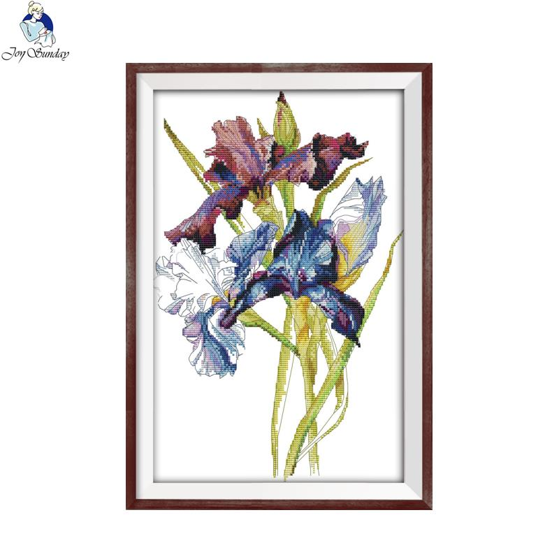 Joy sunday the Iris Counted Cross Stitch 11CT 14CT DIY Handwork Flowers Style Cross Stitch Kits For Embroidery Home Decor