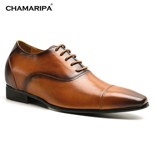 59969576142 CHAMARIPA Brown Mens Elevator Shoes Increase Height 7.5cm 2.95 inch Hidden  Heel Leather Casual Tall Men Shoes K4029