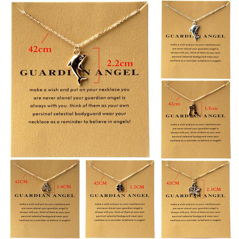 Nueva joyería de moda europea y americana recuerda colgante de aleación de delfín dorado Collar corto variedad regalo de mujer-XL241