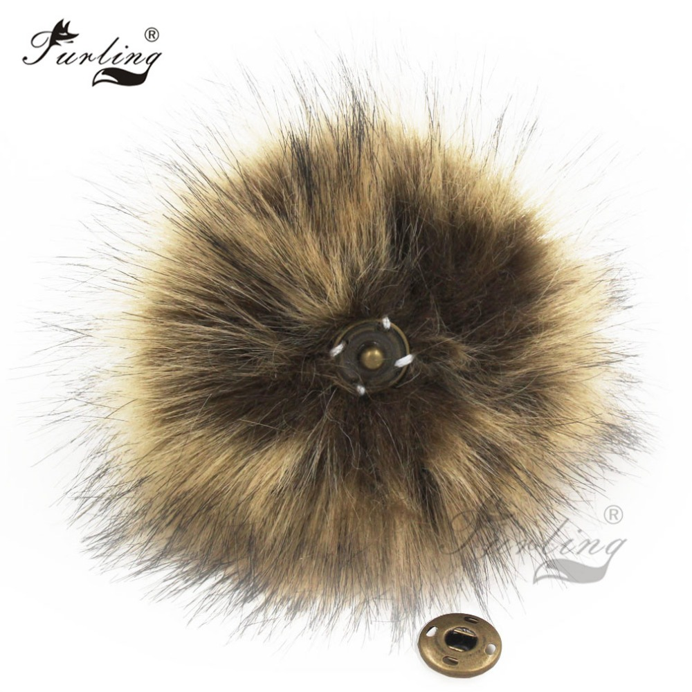 Furling 1PC Fluffy Faux Fur 11cm Pom Pom Ball with Press Button for Baby Girl Pom Beanie Hat Accessories Press Stud Ball straw clutch bag with pom pom