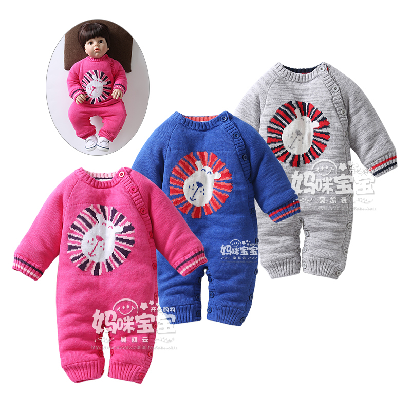 New 2016 kids Knitting jumpsuit children winter rompers infant velvet warm cotton rompers baby girls and boys knitwear overalls autumn winter baby hats new fashion children warm ball hat double color boys and girls cotton caps beanies baby knitted hat