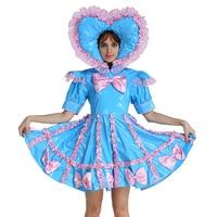 Adult Baby Sweet Heart Hat Sissy Maid Lockable Blue Dress Crossdress Cosplay Costume