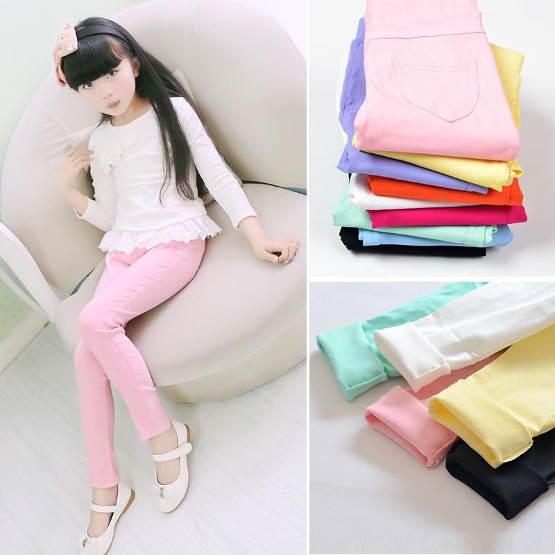 52612042c968 Pantalones largos elásticos de primavera y otoño para niños, pantalones  ajustados de Color caramelo para niñas, pantalones para todo tipo de ...