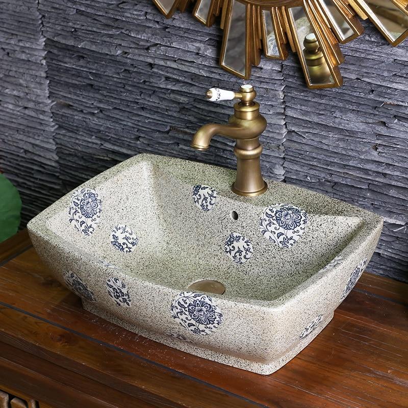 US $325.0 |Jingdezhen Bad keramik waschbecken becken Porzellan Zähler Top  Waschbecken Badezimmer Waschbecken ecke waschbecken bad-in Bad Waschbecken  ...