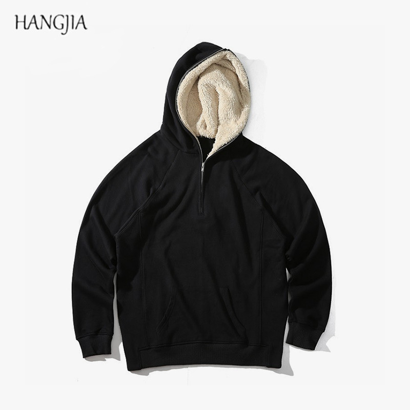 все цены на Mens Half Zipper Pullover Fleece Sherpa Plus Velvet Hoodies Streetwear Side Split Cool Hip-hop Urban Clothing Justin Bieber Tyga