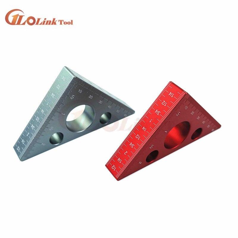 Règle dangle de 45 degrés en alliage daluminium, règle de Triangle métrique de pouce atelier de charpentier menuiserie outil multifonctionnel carré
