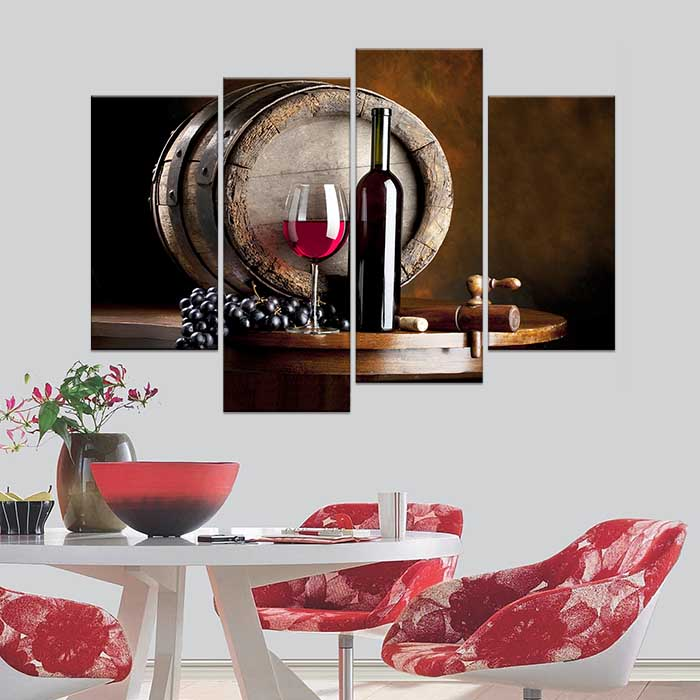 Modern bar dining room creative mural simple unframed for Wine wall art decorating dining room
