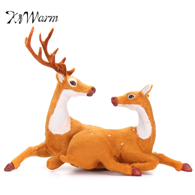KiWarm 2Pcs/set Christmas Reindeer Statues Cute Deer Christmas Party Decor Ornament for Home Indoor Festival Party Decor Gift