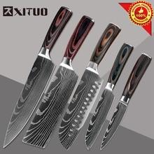 XITUO Razor Sharp Kitchen Knives Paring Utility Santoku Slicing Chef Damascus Veins Paka Wood Handle Stainless Steel cook Knife