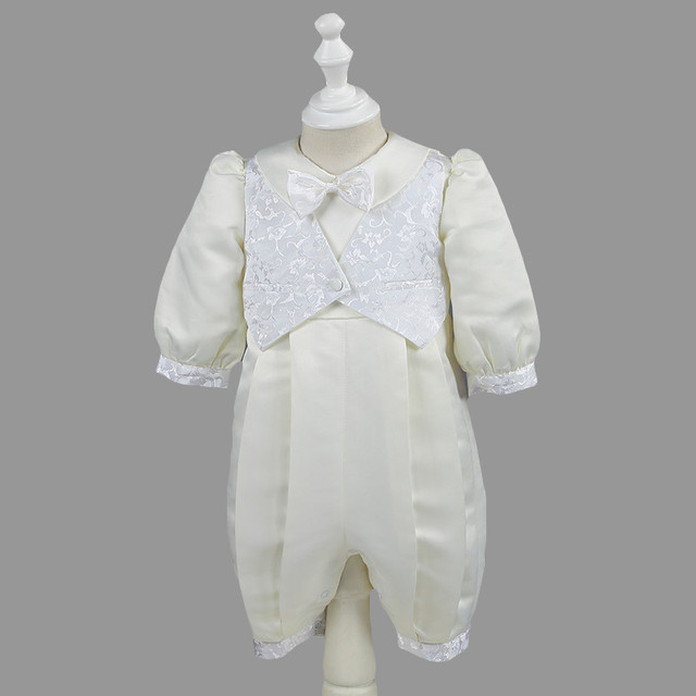 Nimble Baby Boys Christening Gowns Satin Formal Occasion Boys Romper Full Sleeve Square Collar Ivory Kids Baptism Dresses 0-12M